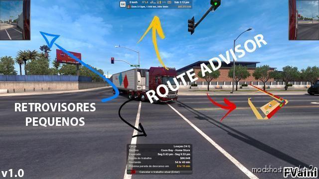 Route Advisor And Retrovisores for Euro Truck Simulator 2