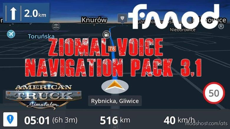 Ziomal Voice Navigation Pack V3.1 for American Truck Simulator
