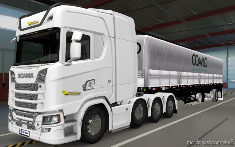 Skin Scania S 2016 8×4 Transportadora PRA Frente Brasil [1.40] for Euro Truck Simulator 2