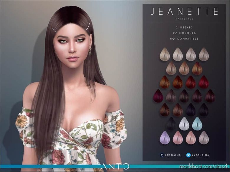 Jeanette (Hairstyle) for The Sims 4