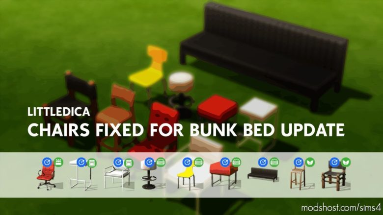 Littledica Fixed Chairs And Stools For Bunk BED Update for The Sims 4