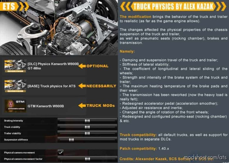 Truck Physics By Alex Kazak   V0.2.1.0   Patch [1.40.X] for American Truck Simulator