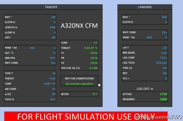 Takeoff – Landing Performance Calculator A320 V1.3 for Microsoft Flight Simulator 2020