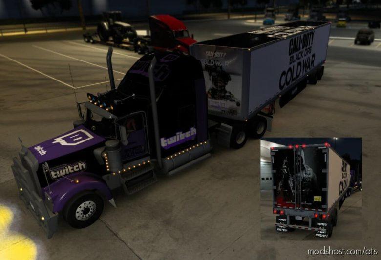 Kenworth W900 Skinmod With Twitch And Codbocw for American Truck Simulator