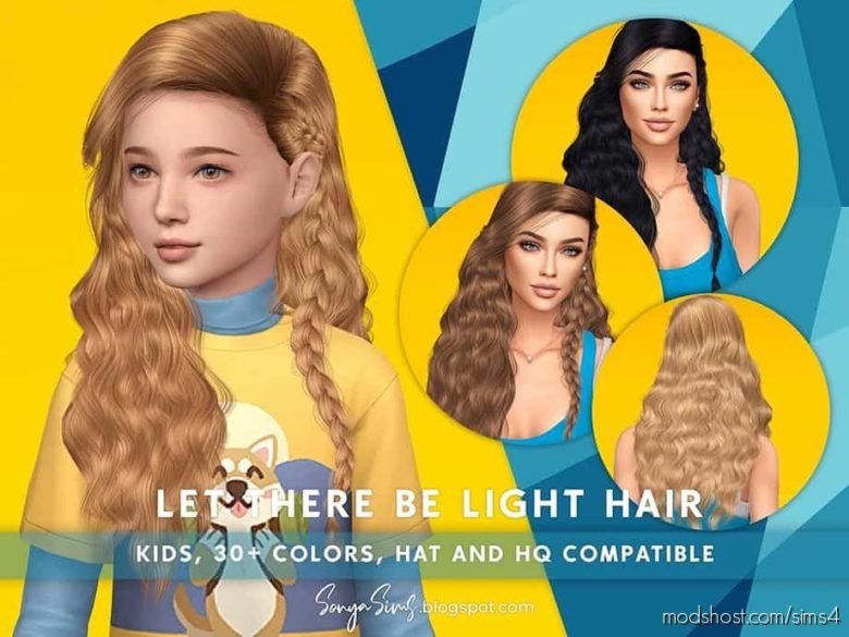 LET There BE Light Hair For Kids for The Sims 4