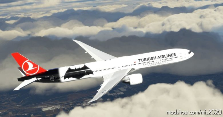 Turkish Airlines Batman V Superman For Captainsim B777-300ER Tc-Jjn V1 for Microsoft Flight Simulator 2020