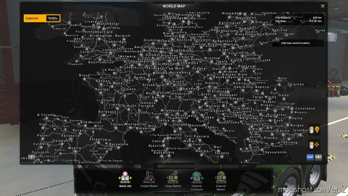 Promods World Map FAR Zoom for Euro Truck Simulator 2