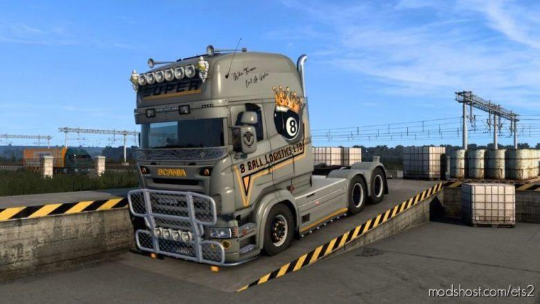 Scania RJL Topline 8 Ball Logistics Skin for Euro Truck Simulator 2