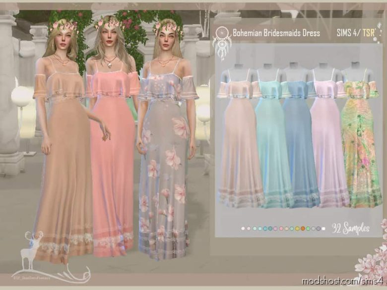 Bohemian Bridesmaids Dress for The Sims 4