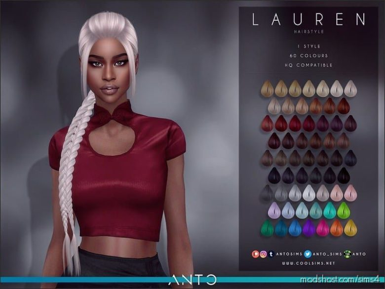 Lauren Hair for The Sims 4