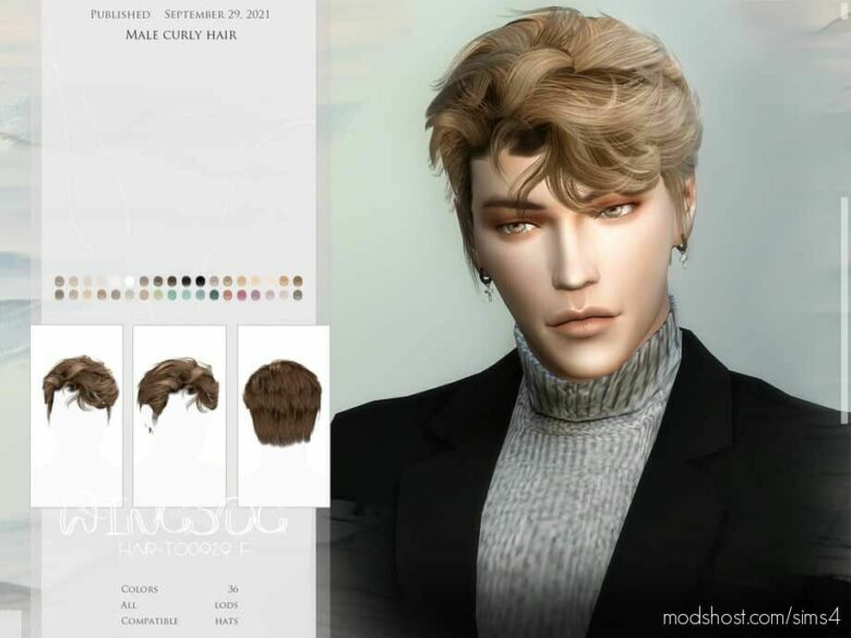 Male Curly Hair for The Sims 4